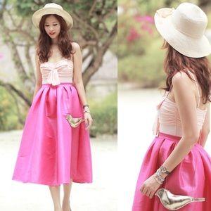 Choies fuchsia  hot pink skirt bloggers favorite